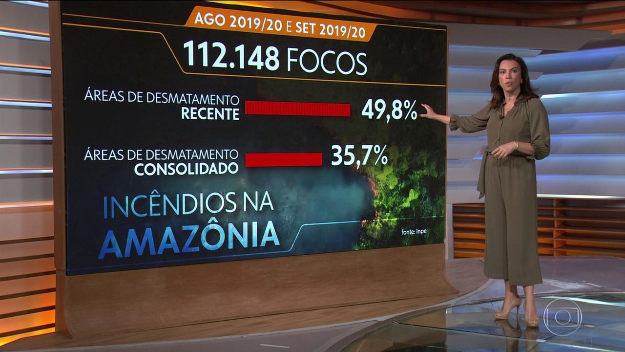 Amazônia teve mais focos de incêndio em áreas de desmatamento recente em agosto e setembro