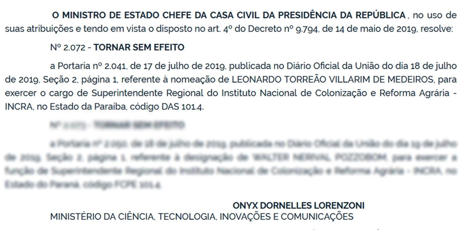 Nomeação de superintendente do Incra na Paraíba é tornada sem efeito por Ministro da Casa Civil - Notícias - Plantão Diário