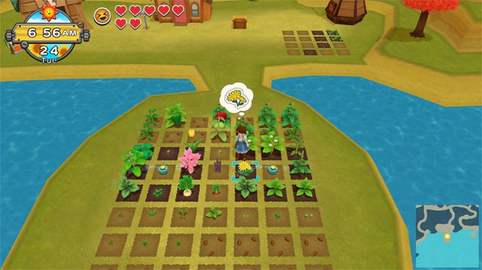 Harvest Moon: One World começa como um simulador comum da série, mas permite explorar um vasto mundo — Foto: Reprodução/Nintendo eShop