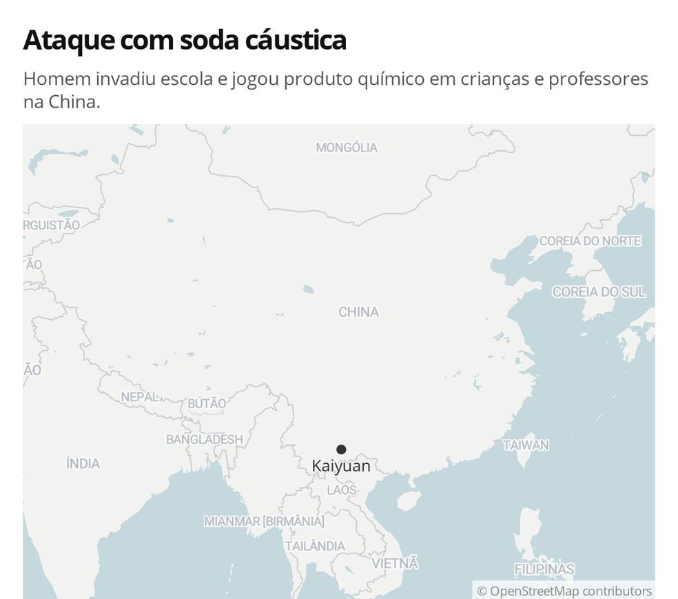 Mais de 50 crianças ficaram feridas em ataque com soda cáustica no China — Foto: G 1