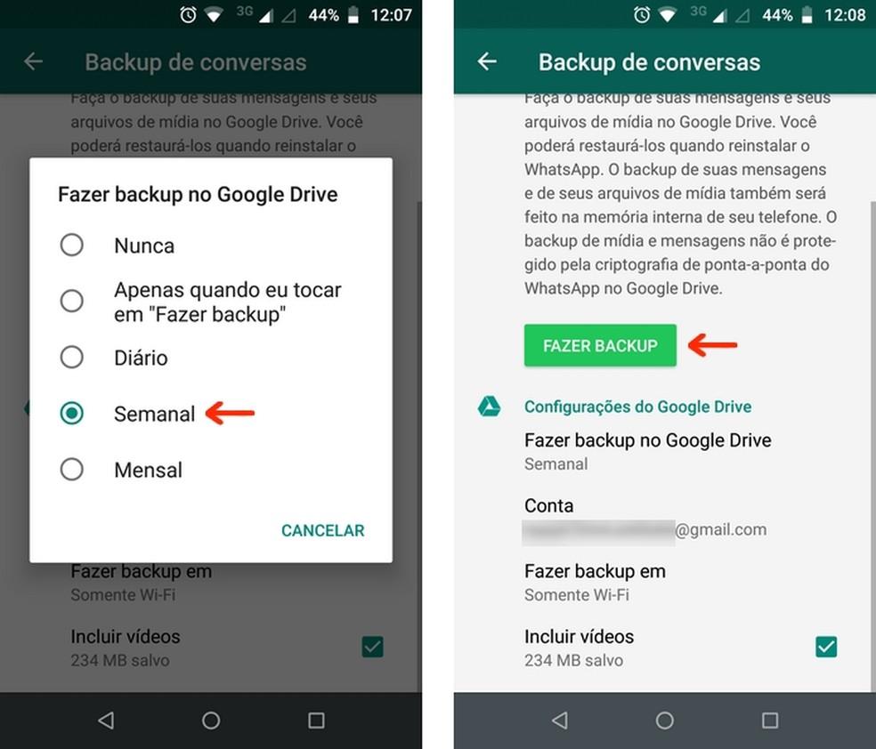 Backup de conversas do WhatsApp no aplicativo para Android — Foto: Reprodução/Raquel Freire