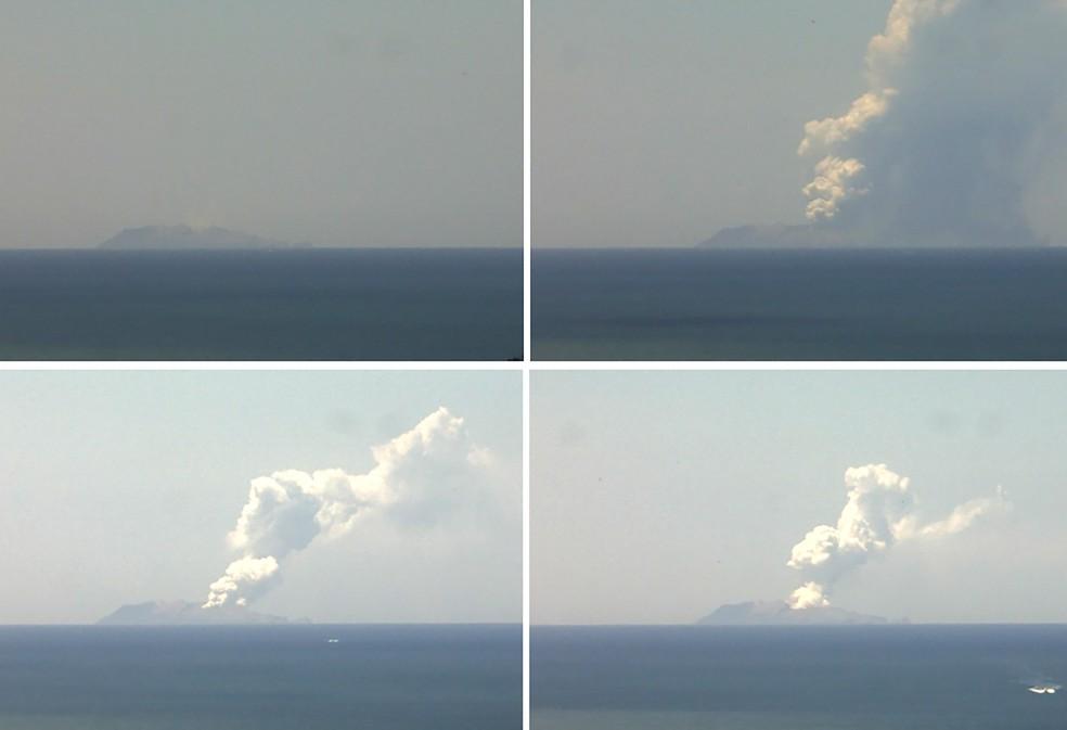 Combinação de imagens do Instituto Ciências Geológicas e Naturais mostra o momento em que o vulcão da Ilha Branca, na Nova Zelândia, entra em erupção — Foto: Instituto Ciências Geológicas e Naturais/Divulgação via AFP