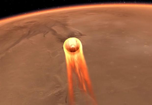 Para que a sonda não queima nem seja lançada de volta ao espaço, diversos cuidados são tomados envolvendo o escudo de calor e o ângulo de entrada na atmosfera (Foto: NASA-JPL-Caltech)