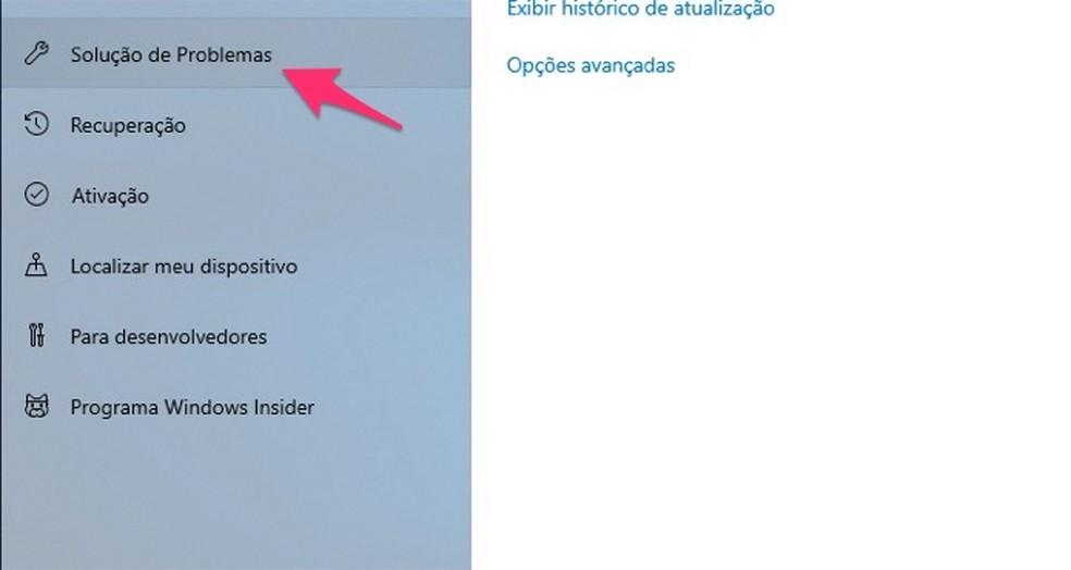 Ação para acessar as ferramentas para solução de problemas no Windows 10 — Foto: Reprodução/Marvin Costa