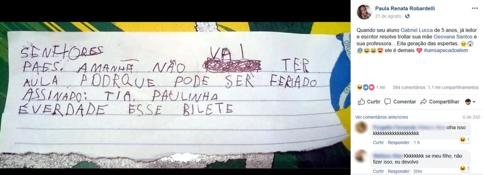 Professora postou foto do bilhete que viralizou nas redes sociais (Foto: Reprodução/Facebook)