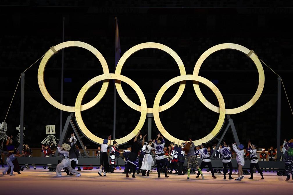 Artistas se apresentam durante a cerimônia de abertura dos Jogos Olímpicos de Tóquio, no Japão — Foto: Stefan Wermuth/Reuters