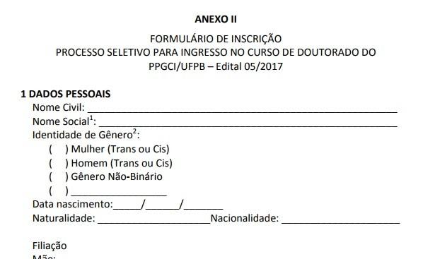 Novo formulário, com a mudança nas opções