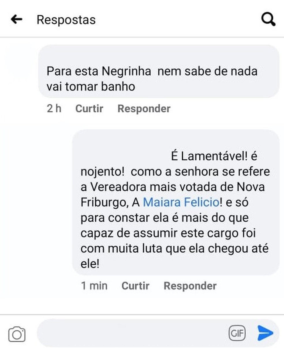 Comentários racistas foram postados nas redes sociais após vereadora se posicionar contra o retorno presencial de aulas nas escolas de Nova Friburgo, no RJ — Foto: Reprodução/Facebook