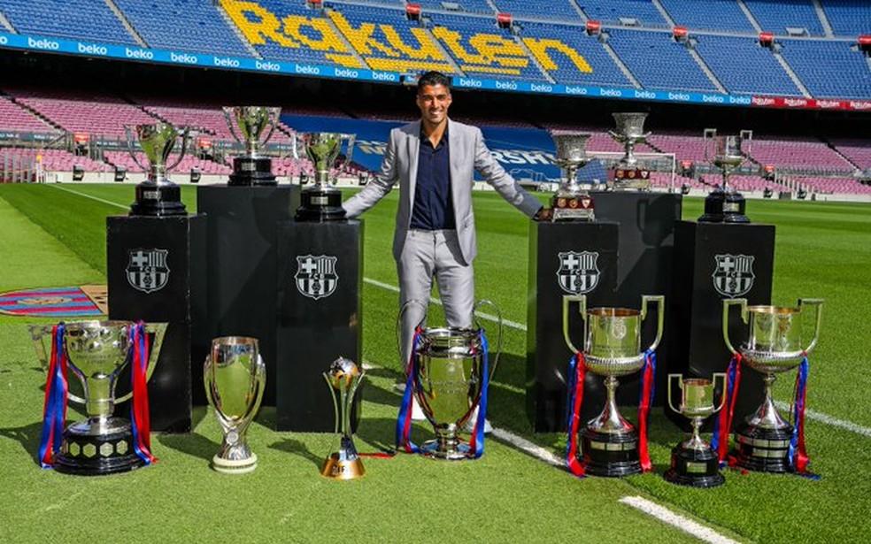 Luis Suárez em sua despedida do Barcelona  — Foto: Divulgação/Barcelona