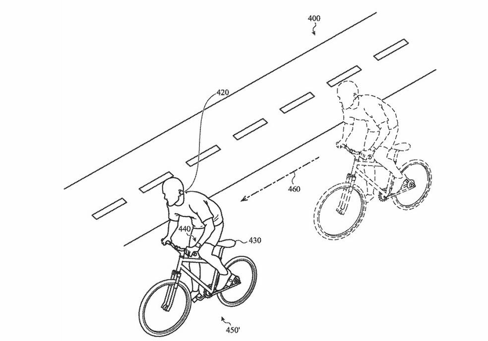 Ilustração da Apple, presente na documentação, descreve a tecnologia em ação usando um ciclista como exemplo — Foto: Reprodução/USPTO