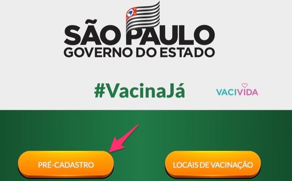 Portal Vacina Já: cadastro está disponível pelo computador — Foto: Reprodução/Marvin Costa