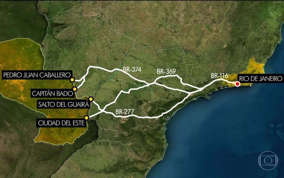Levantamento mostra rota do tráfico de armas (Foto: Reprodução / TV Globo)