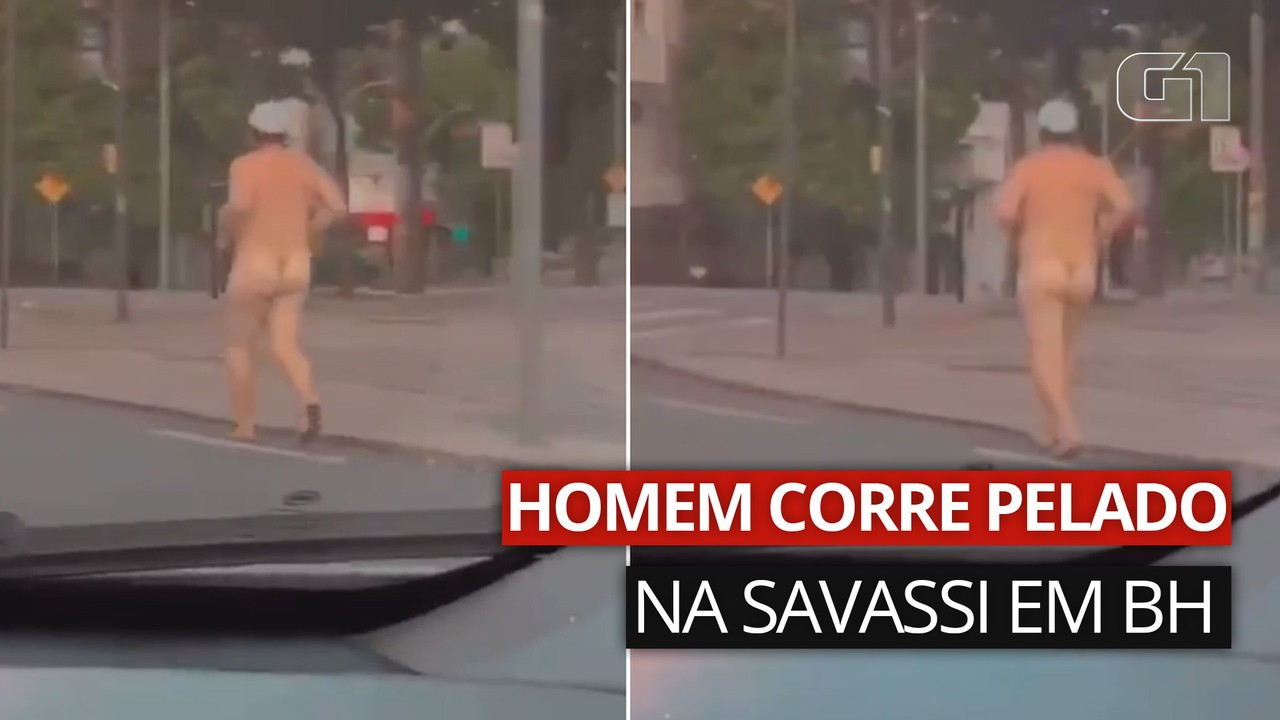Vídeo mostra homem pelado correndo na Savassi, em BH