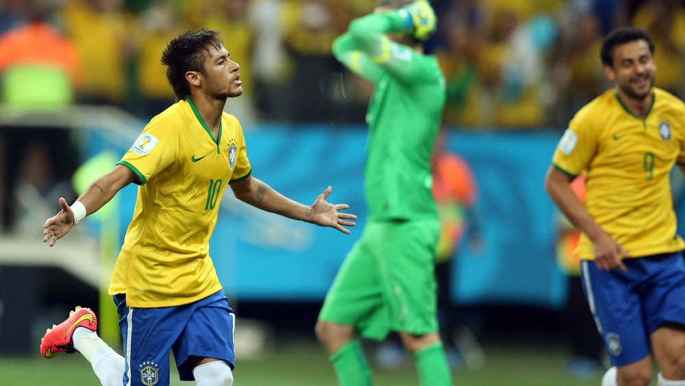 Neymar comemoração Brasil x Croácia
