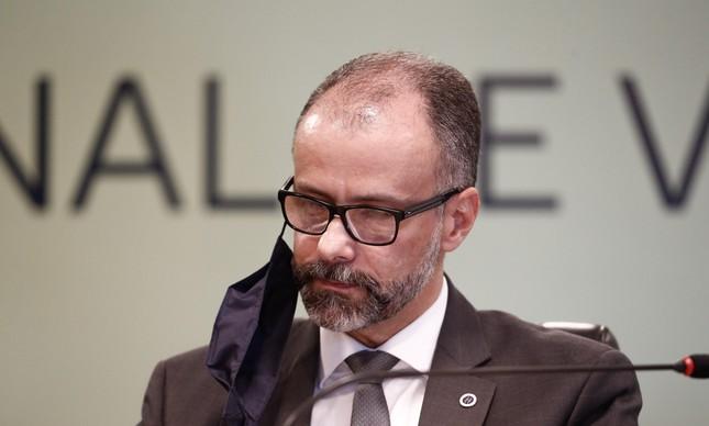 O presidente da Anvisa, Antonio Barra Torres, em entrevista coletiva