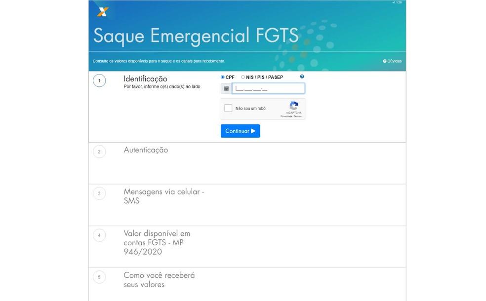 Site para consulta de valor e data de depósito do saque emergencial do FGTS — Foto: Reprodução