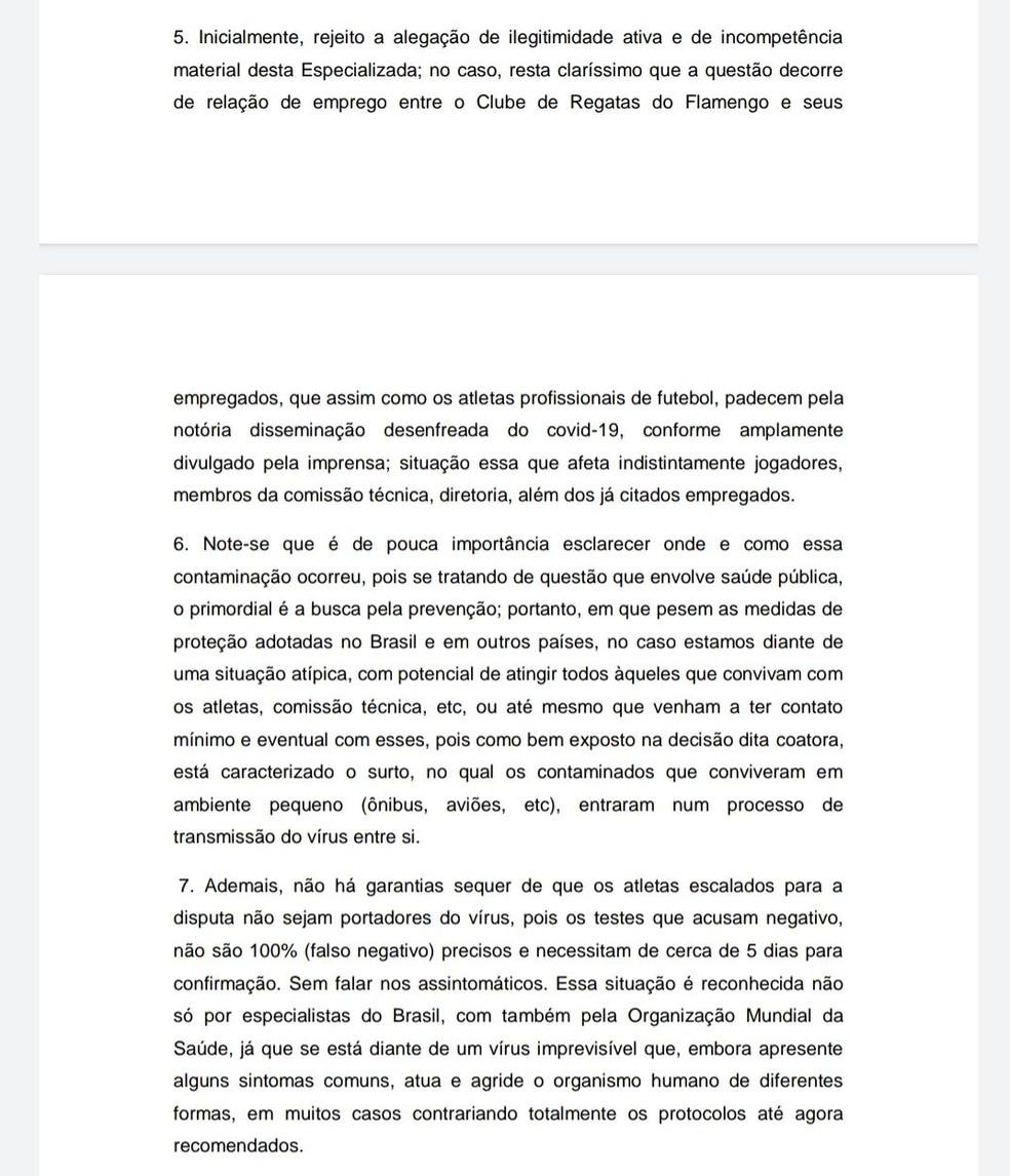 Parte da decisão da desembargadora Maria Helena Motta — Foto: Reprodução