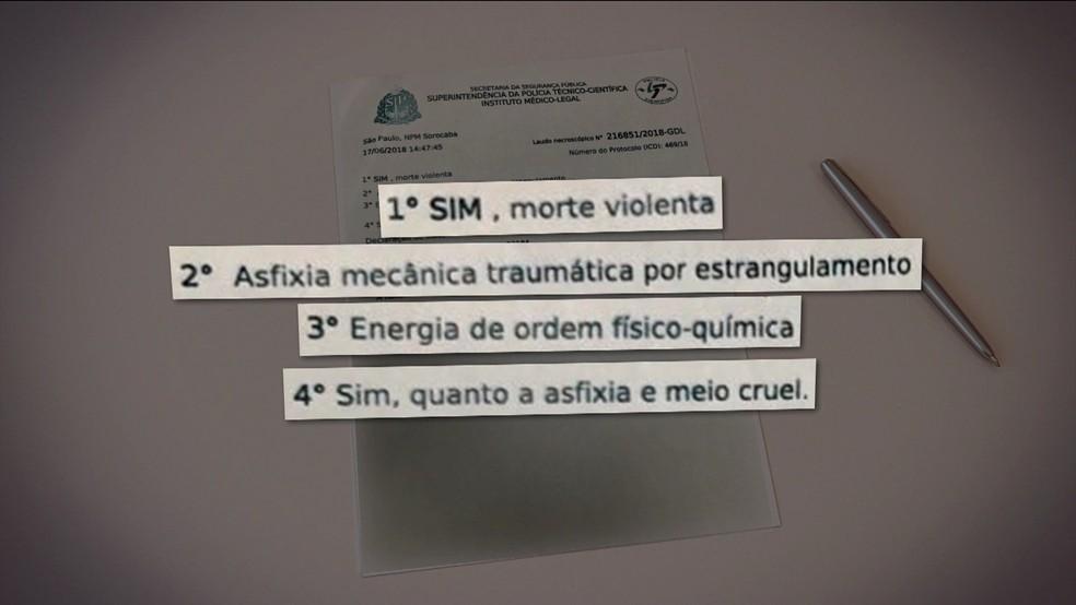 Laudo do IML aponta que Vitória Gabrielly morreu por asfixia mecânica por estrangulamento (Foto: TV Globo/Reprodução)