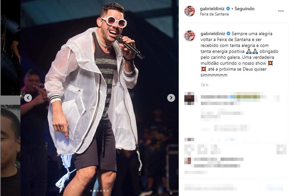 Cantor fez show na cidade de Feira de Santana â?? Foto: Reprodução/Instagram