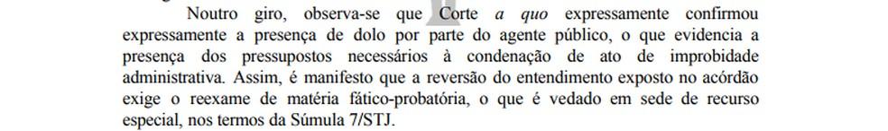 Trecho da decisão que manteve condenação do conselheiro do TCDF. — Foto: Reprodução