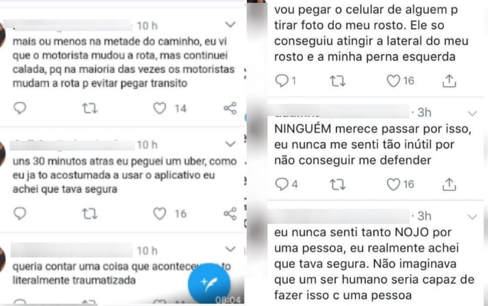 Postagens feitas por adolescente sobre falsa agressão — Foto: Reprodução/Twitter
