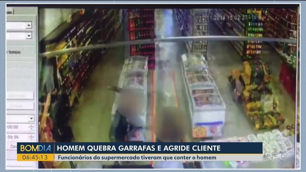 Homem surta e dá garrafada em cliente de supermercado em Umuarama, diz polícia - G1