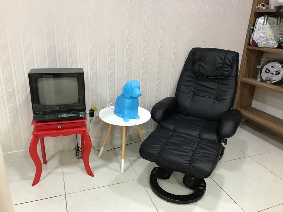Cliente pode fazer massagem em cadeira especial enquanto espera por bicho de estimação na 'Meu Bixim e Eu' (Foto: Gabriel Matos/ Arquivo pessoal)