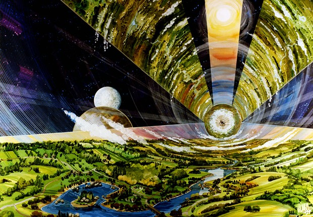 Vista interior da Colônia Cilíndrica (Foto: Rick Guidice/NASA Ames Research Center)