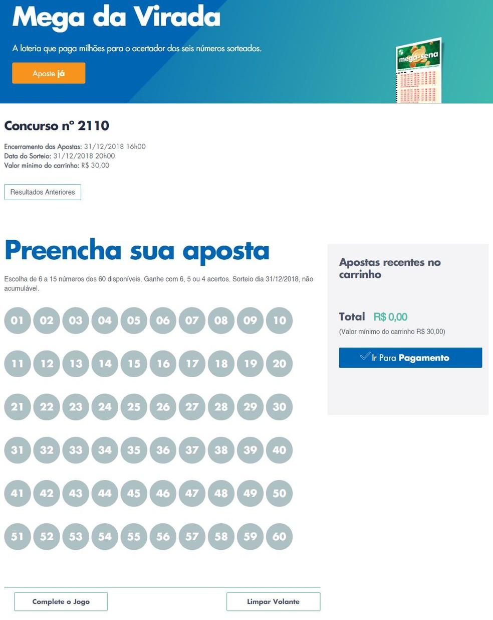 Internauta pode fazer a aposta da Mega da Virada online — Foto: Reprodução