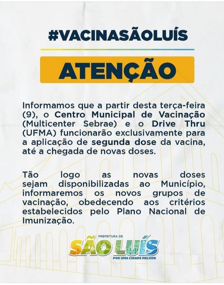 Suspensa vacinação de idosos contra Covid-19 em São Luís