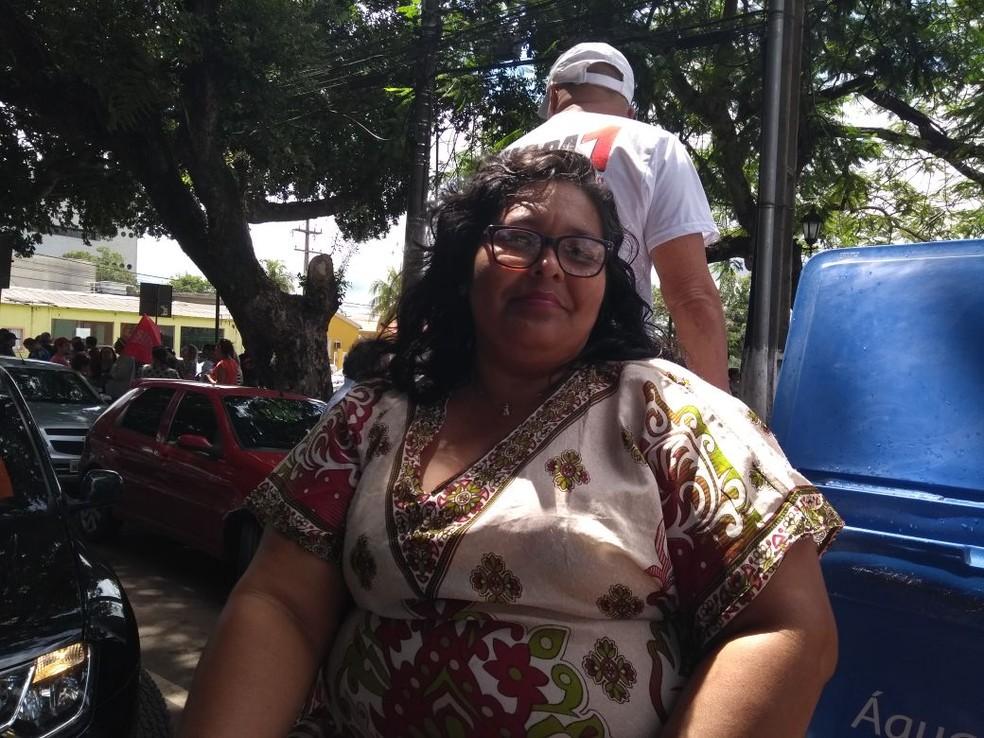 Professora foi às ruas protestar contra a reforma da previdência em Porto Velho (Foto: Hosana Morais/G1)