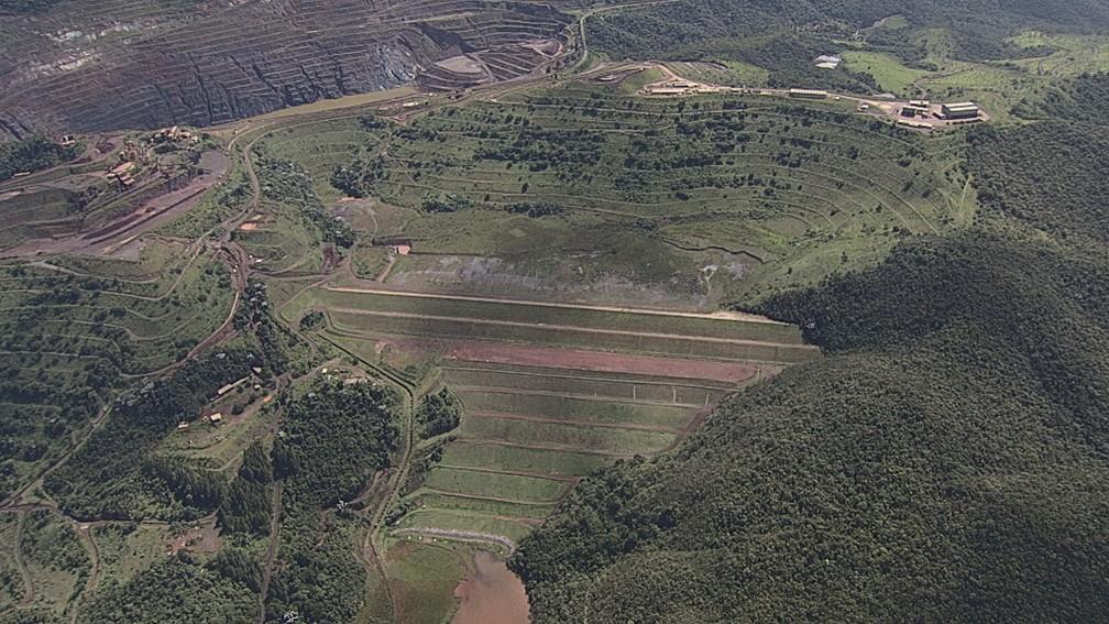 Barragem em Barão de Cocais — Foto: Reprodução/TV Globo