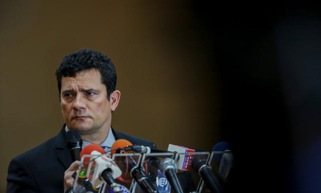 Ministro da Justiça, Sergio Moro, em coletiva de imprensa após evento em Manaus