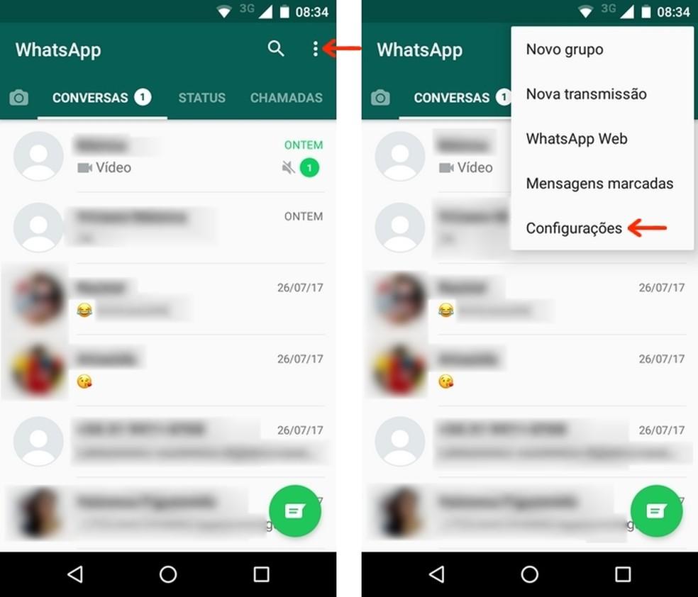 Acesso ao menu de configurações no WhatsApp para Android (Foto: Reprodução/Raquel Freire)
