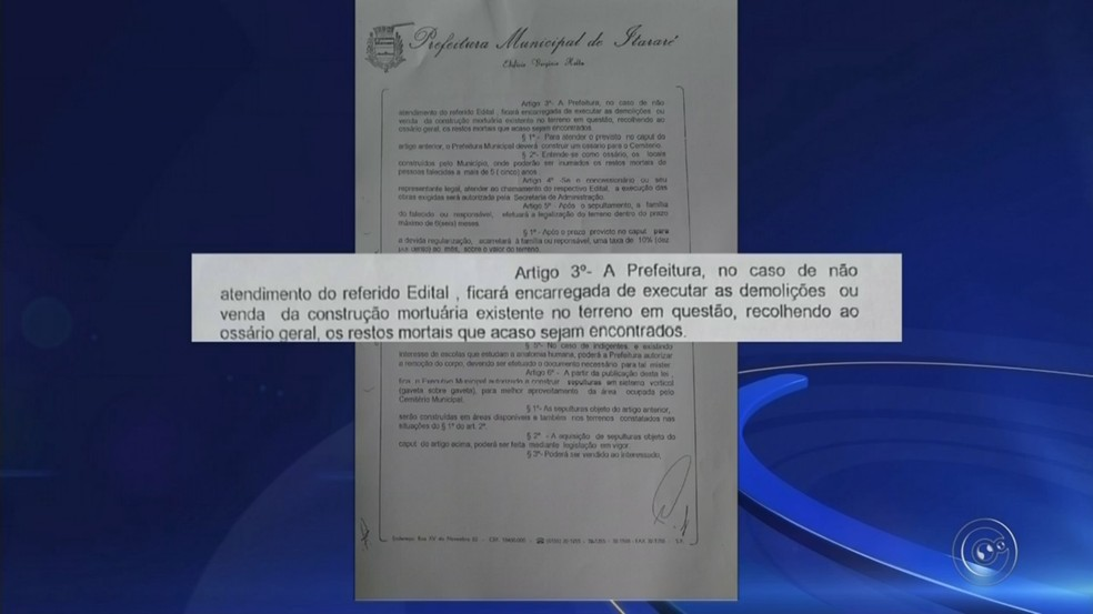 Lei Municipal de Itararé permite a desapropriação de túmulos abandonados há 5 anos (Foto: Reprodução/TV TEM)