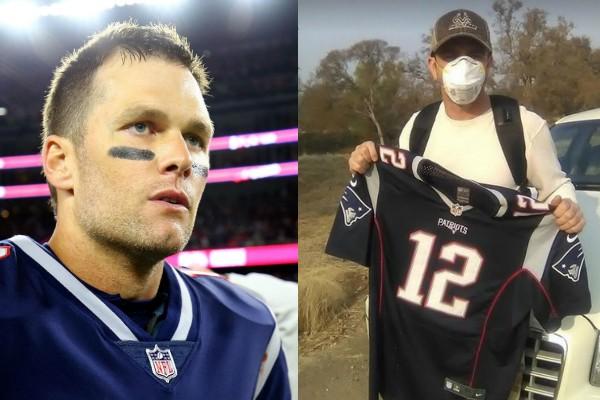 Tom Brady e seu fã Christian (Foto: Getty Images/Reprodução Instagram)