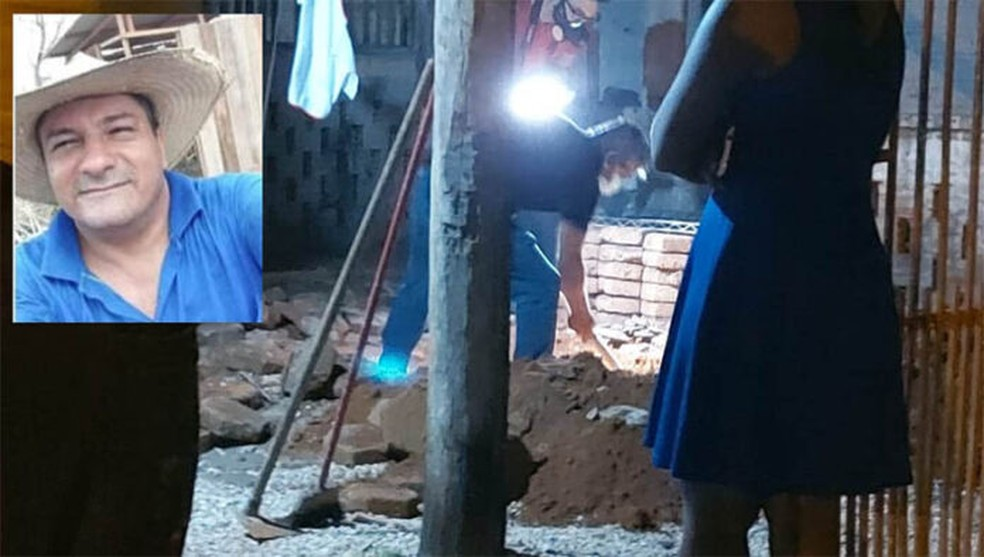 Corpo de Nilton Nascimento foi encontrado após policiais quebrarem concreto de calçada, em Vilhena — Foto: Reprodução