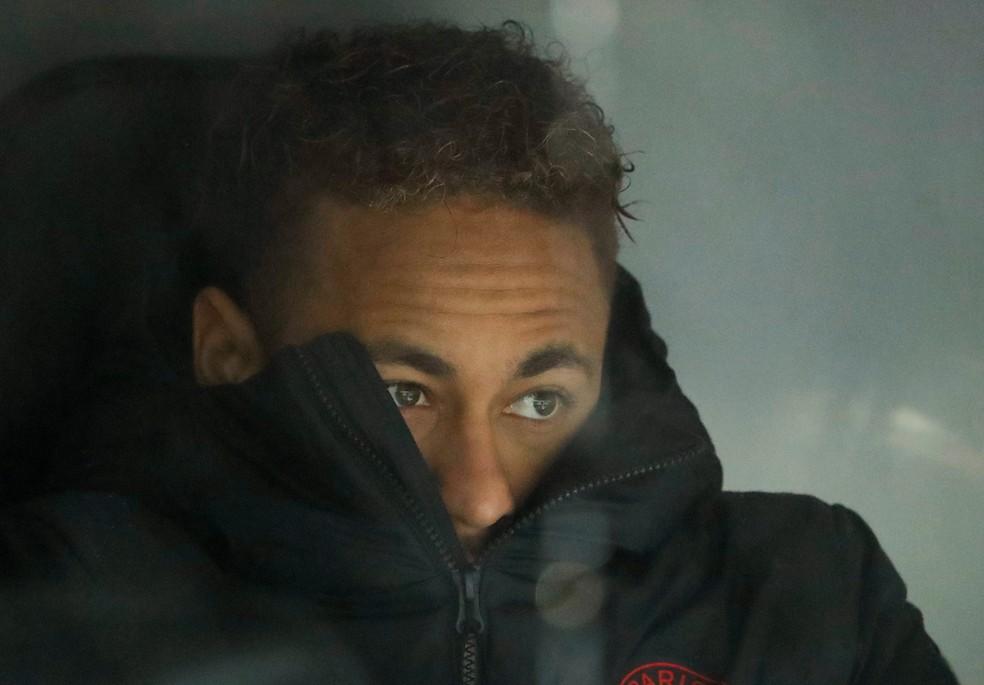 Neymar, que ficou no banco de reservas do PSG contra o Real Madrid na terça-feira — Foto: Susana Vera/Reuters