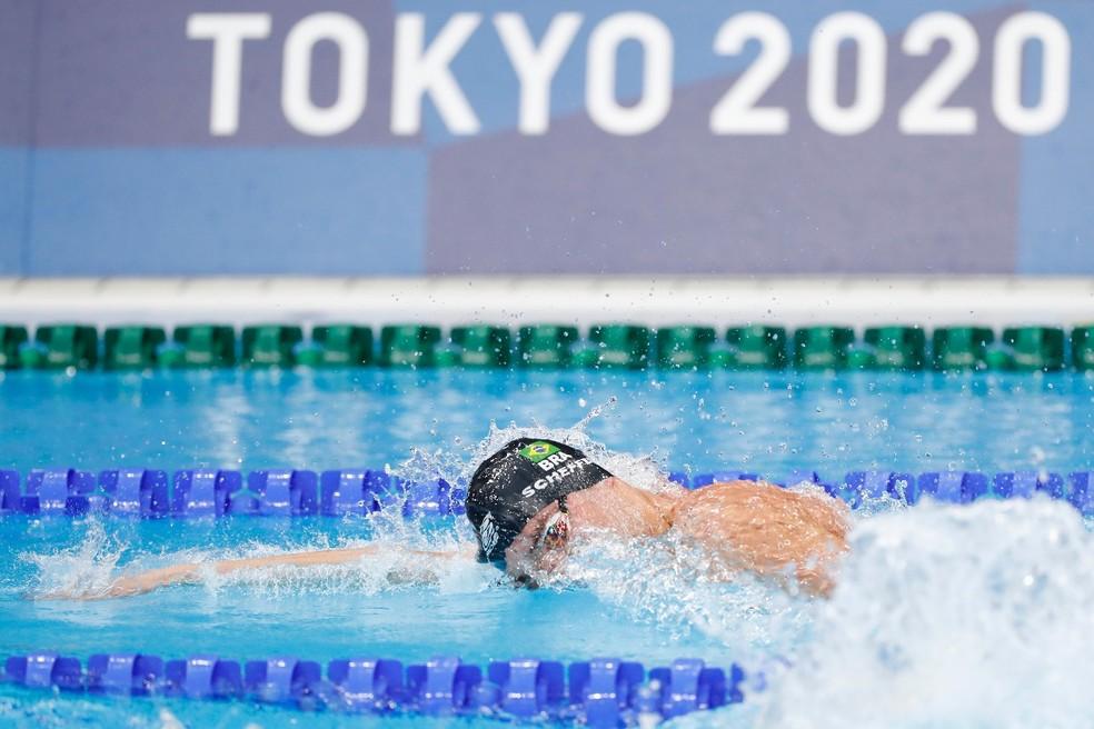 Scheffer durante prova que garantiu a 14ª medalha olímpica da natação brasileira — Foto: Satiro Sodré/SSPress/CBDA