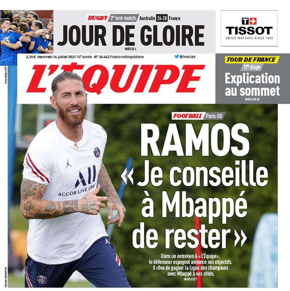 """Entrevista com Sergio Ramos é capa do L'Equipe desta quarta: """"Eu aconselhei Mbappé a ficar"""" — Foto: Reprodução/L'Equipe"""