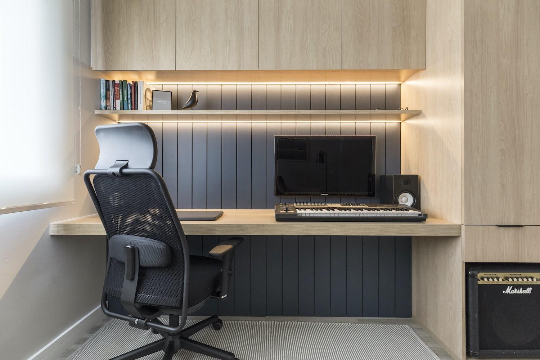 ufficio a casa    Per il progetto sono state utilizzate piume d'oca e colori invernali secchi, di Suvinil (Foto: Publicity/Marcelo Donadussi)
