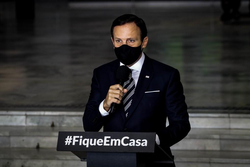 O Governador do Estado de São Paulo, João Doria anuncia nesta quarta-feira (10) durante coletiva à imprensa, no Palácio dos Bandeirantes, continuar com a quarentena que vai de 15 à 28 de junho, e a nova etapa do Plano SP para a retomada econômica, mesmo com número de mortes chegando a quase 10.000 e mais de 150 mil infectados. 10/06/2020 - Foto:  — Foto: ALOISIO MAURICIO/FOTOARENA/FOTOARENA/ESTADÃO CONTEÚDO