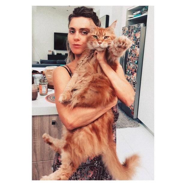 Carol Dieckmann e o gato gigante (Foto: Reprodução Instagram)