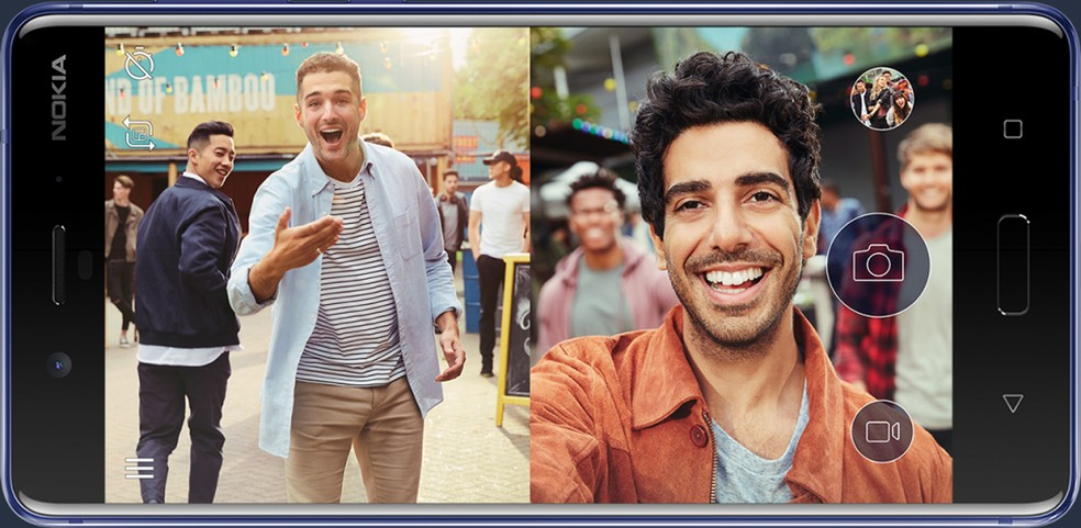 Novo smartphone Nokia 8 consegue tirar fotos e fazer vídeos usando câmeras frontal e traseira ao mesmo tempo (Foto: Divulgação)