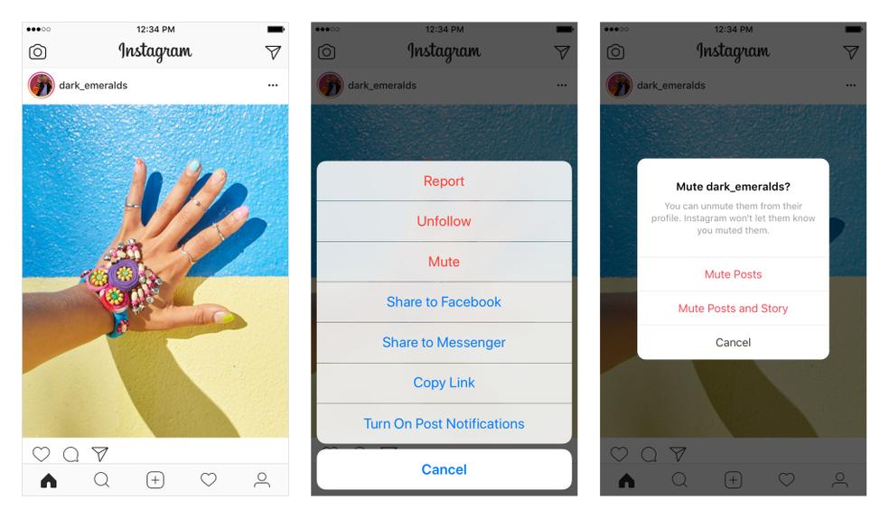 Para usar o Mute, clique nos três pontos ao lado do post e selecione o que quer silenciar (Foto: Divulgação/Instagram)
