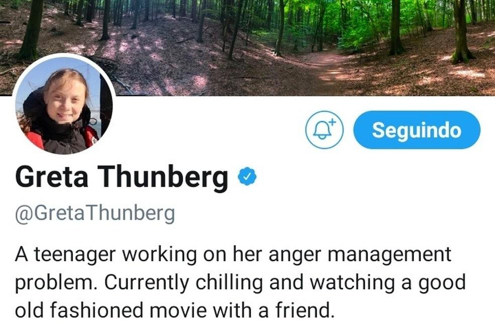"""""""Adolescente trabalhando em seu problema de controle da raiva. No momento vendo um bom filme antigo com um amigo"""", diz a nova bio de Greta Thunberg no Twitter — Foto: Reprodução/Twitter"""