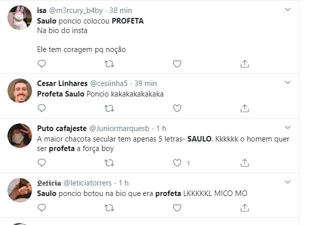 Comentários na web sobre Saulo Poncio (Foto: Reprodução/Twitter)