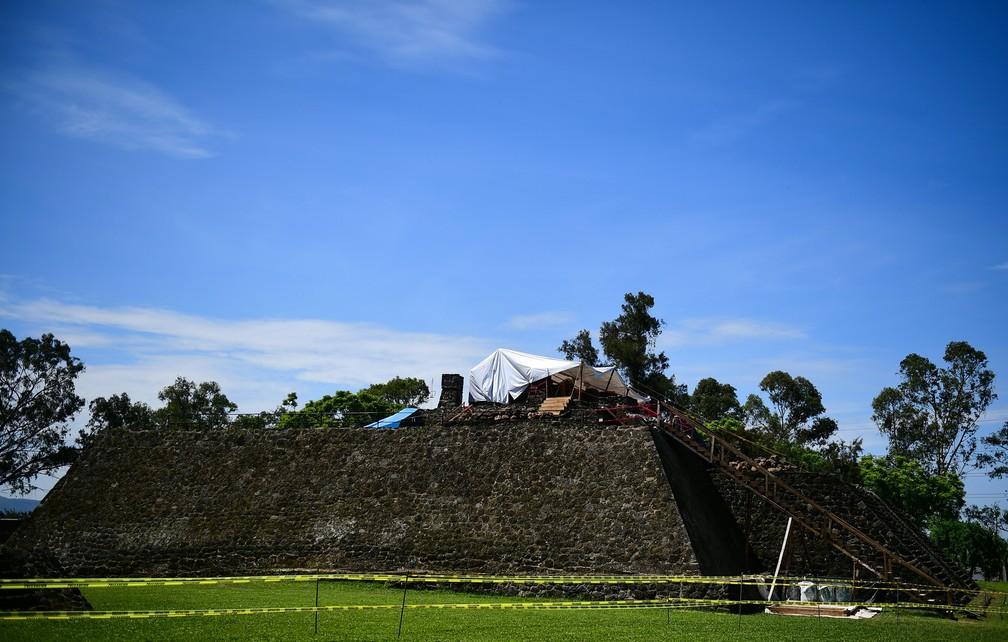 -  Tempo dentro de pirâmido ficou visível após terremoto no México  Foto: Ronaldo Schemidt/AFP