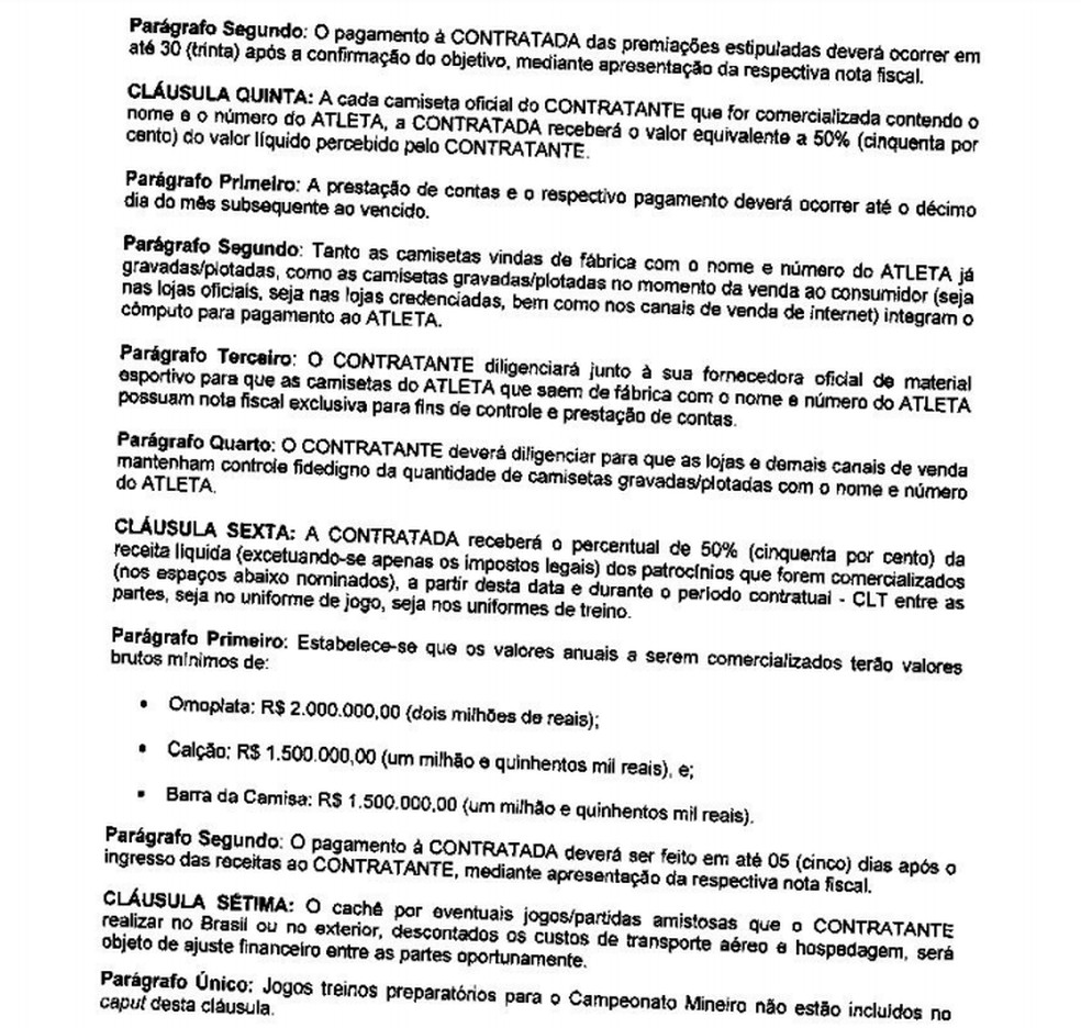 Parte do contrato de direito de imagem de R10 com o Atlético — Foto: Reprodução