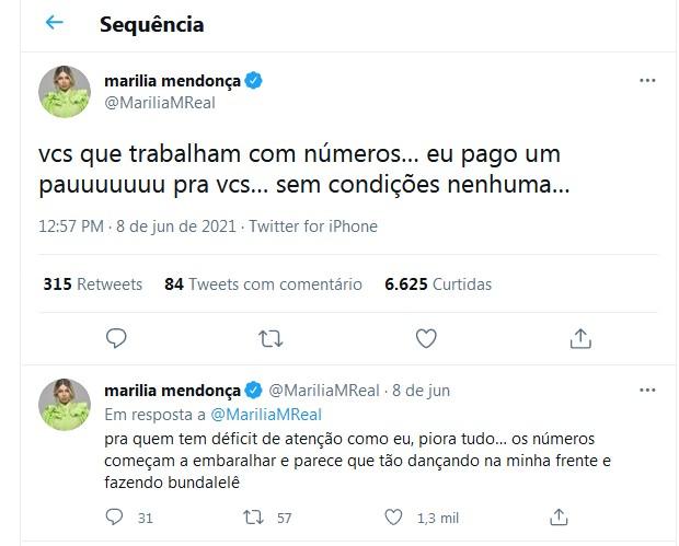 Desabafo de Marilia Mendonça (Foto: Reprodução/Twitter)